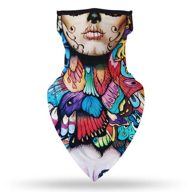 Skull Feathers Face Mask/Neck Gaiter