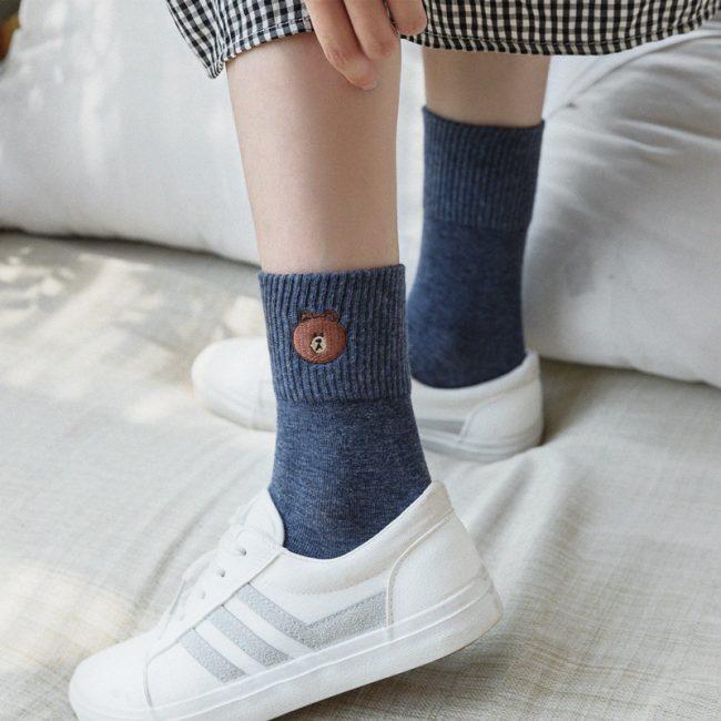 Bear Socks Navy Blue