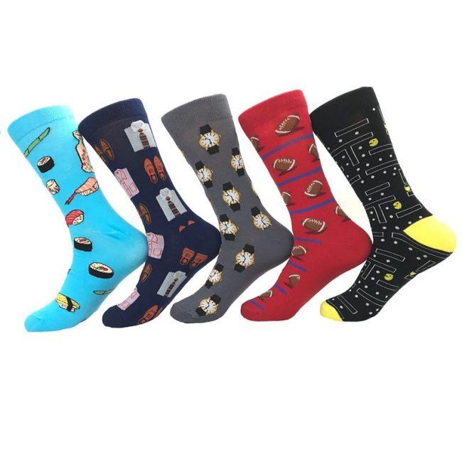 Novelty Crew Socks 5-Pack Mens