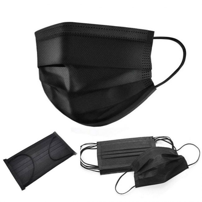 Disposable Face Masks (Pack of 50 PCS) Black 3 ply